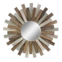 Buy cheap Large Round Wooden Sunburst Hanging Wall Mirror from wholesalers
