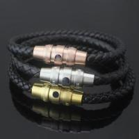 Buy cheap Mens Braided Leather Cord Bracelet Magnetic Buckle Bracelet from wholesalers