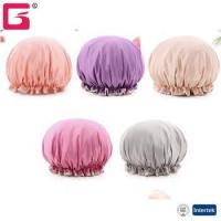 Buy cheap Amazon FBA Bathroom Shower cap polyester EVA Double layers basic color water proof with lace bath ca from wholesalers