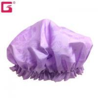 Buy cheap Amazon FBA Bathroom Shower cap polyester Bamboo design water proof bath caps for lady women from wholesalers