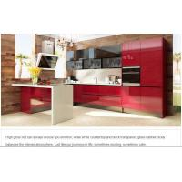 OP15-A08-Dubai Exhibition Red Acrylic Wooden Kitchen Design