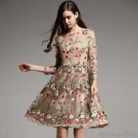 Buy cheap Bud royal retro embroidery dress women autumn Vintage lace Christmas slim floral from wholesalers