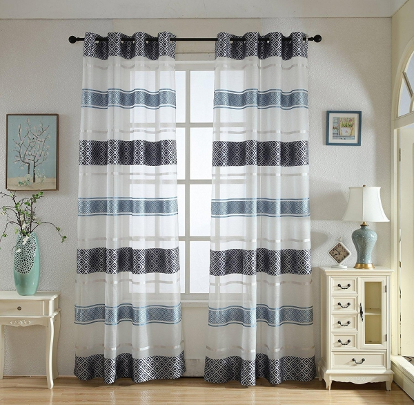 Quality Decorative Stylish Sheer Curtains with Grommets 2 Panels , Flowy Style | Colorful, Silky Window Drap for sale