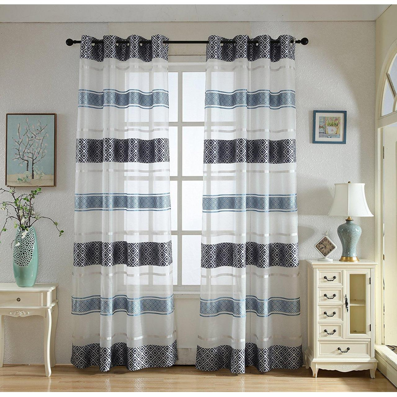 Buy cheap Decorative Stylish Sheer Curtains with Grommets 2 Panels , Flowy Style | Colorful, Silky Window Drap from wholesalers