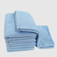 Buy cheap blue Waffle Weave Microfiber Towel cloth Car Cleaning Cloth glass cleaning terry from wholesalers