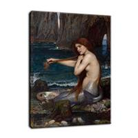 Buy cheap Replicate Famous Retro Oil Painting Beauty Nude Mermaid Canvas Print Wall Picture from wholesalers
