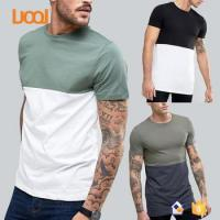 Buy cheap LuoQi New Fashion 100% Pima Cotton Short Sleeve Round Neck Custom Stitching Two Color Men T shirt from wholesalers
