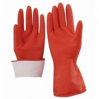 Buy cheap Household gloves Red Sprayed Flocklined Household Latex Gloves from wholesalers