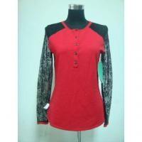 Women's cardigan with woven lace splice