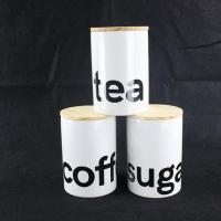 Creative co-op chalkboard white ceramic canister set