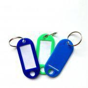 Buy cheap wholesale PP 5x2.2cm assorted color key chains with window plastic key fob key rings from wholesalers