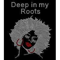 Buy cheap Deep In My Roots Afro Lady Rhinestone Transfer Heat Press Hotfix Motif For T-shirts from wholesalers