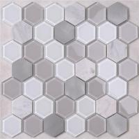 Buy cheap HSL41 Unique Green White small hexagon floor and Wall Mosaic tiles decoration from wholesalers