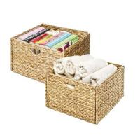 Buy cheap Foldable Handwoven Water Hyacinth Cube Storage Basket , Double Hamper. from wholesalers