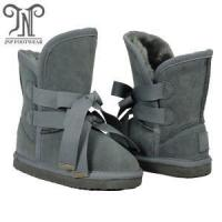 Buy cheap Boys Childrens Grey Fur Boots with Double Laces from wholesalers