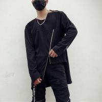 Buy cheap Custom High Quality Cotton French Terry Zipper Design Mens Crew Neck Longline Streetwear Sweatshirts from wholesalers