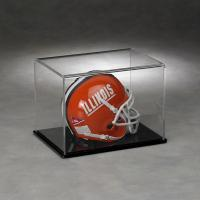 China Clear Acrylic Full Size Football Helmet Display Case With Solid Black Base on sale