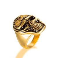 Buy cheap gold plated Skull Rings for Men Boys Jewelry Punk Head Stainless Steel Bands Gifts Presents from wholesalers
