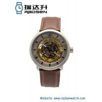 Buy cheap Mens Automatic Watches Skeleton Mechanical with Brown Leather Strap from wholesalers