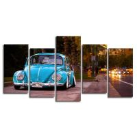 Buy cheap 5 Pieces Canvas Paintings Printed Blue Beetle Car Wall Decorations from wholesalers
